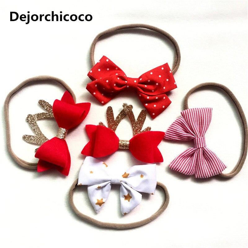 Dejorchicoco Новогодние повязки для детей Обувь для девочек волос носить эластичный нейлон Женские аксессуары для волос бантом ленты для волос О…