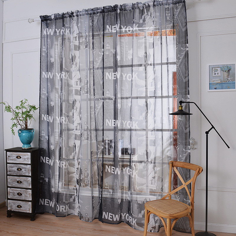 2016 Luxury Tulle Voile Window Curtains For Living Room American New York Sheer 3d