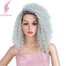 Yiyaobess 18inch Black Silver Ombre Short Afro Kinky Curly Wig Synthetic Hair Natural Wine Red African American Wigs For Women fashion dark wine red capless fluffy afro curly long side bang synthetic wig for women