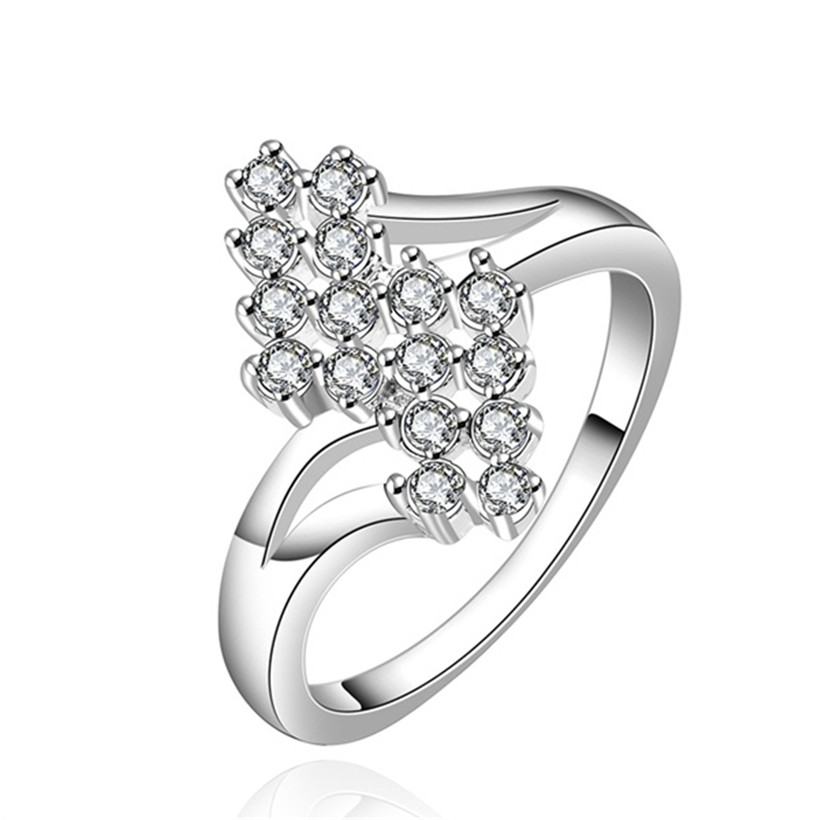 2 color fashion CZ Zircon Silver Ring Women lady gift Jewelry Engagement Wedding Austrian Crystal cute noble stamped925 R527