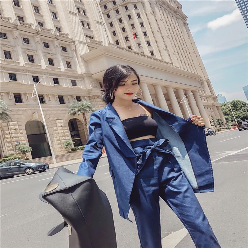 Blue Office Travail Pour Veste Vintage Pantalons Femmes Lady Hzirip Costume Mode 2 Et Ceintures Ensemble Feminino Pantalon Denim 2018 Pièce Costumes Blazer 1wTZqnTd8