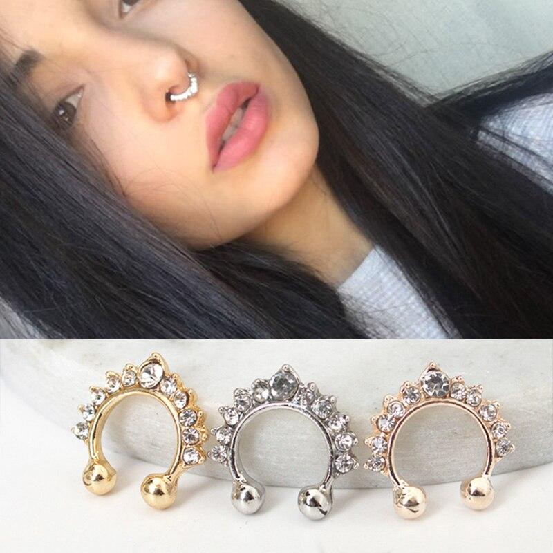 Crystal Hoop Fake Nose Ring Women Jewelry Rose Gold Silver Nose