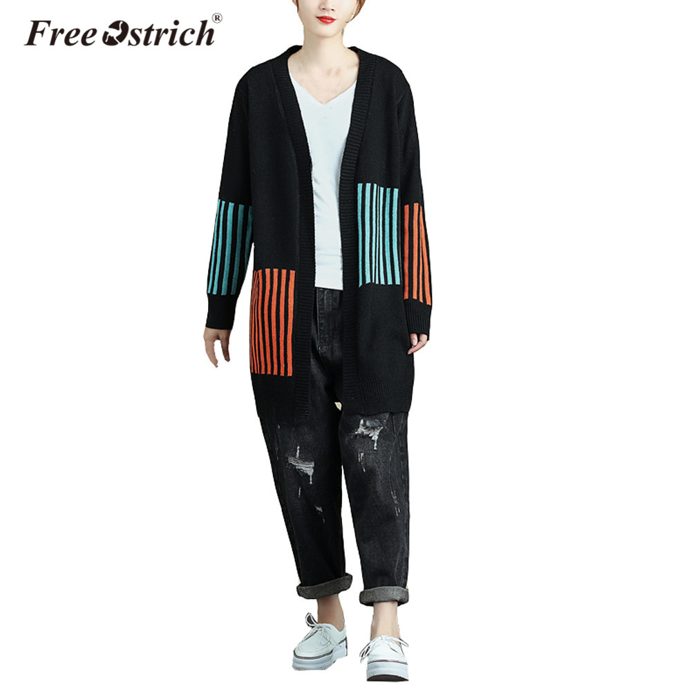 Free Ostrich Cardigans Women Sweater Winter Warm Fashion Outwear Full Sleeve Long Sweater Coat L0835