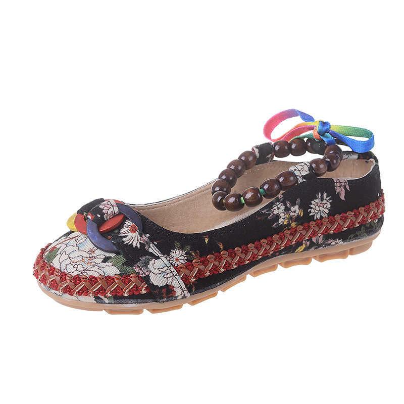 Zapatos mujer; повседневная обувь на плоской подошве в стиле ретро; обувь с вышивкой в этническом стиле; женская обувь на плоской подошве с цветочным принтом; Лоферы ручной работы с ремешками на лодыжке