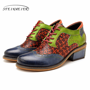 Image 4 - Women oxford pumps shoes vintage leather ladies lace up Spring oxford heels shoes for women green shoes woman 2020 summer