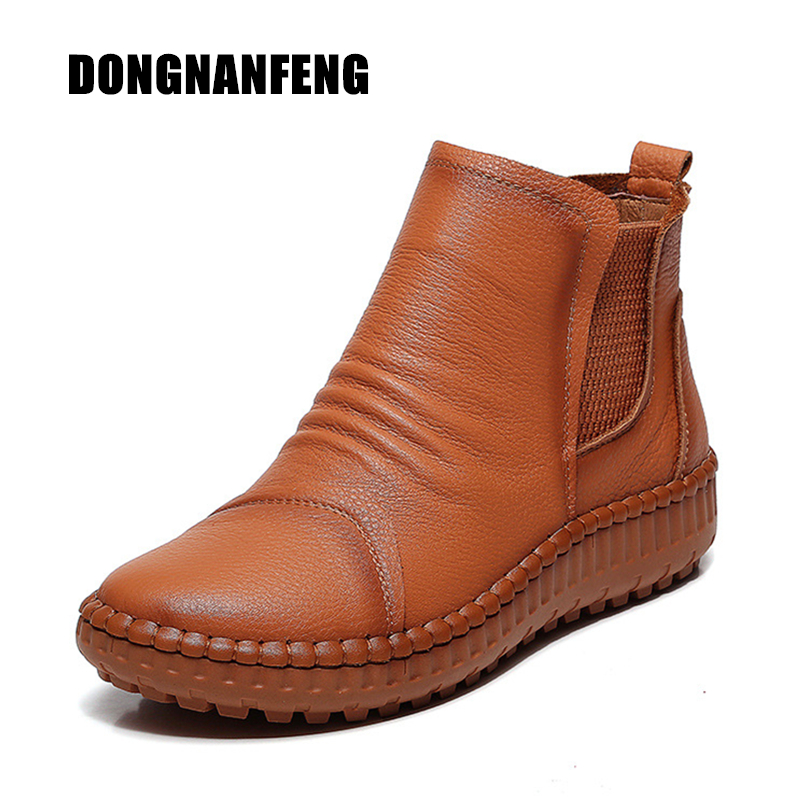 bf2d27aea40 DONGNANFENG New Women Old Mother Female Ladies Shoes Boots Cow Genuine  Leather Casual Slip On Pigskin Soft Round Size 35-40 XY-2 - aliexpress.com  - imall. ...