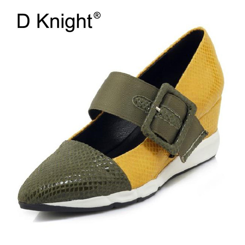 Spring Summer Pointed Toe Women Wedges Shoes Sexy High Heels Wedge For Women Elegant Genuine Leather Lady Mary Janes Pumps Shoes new spring fashion brand genuine leather sweet classic high heels women pumps shallow thick heel mary janes lady causal shoes