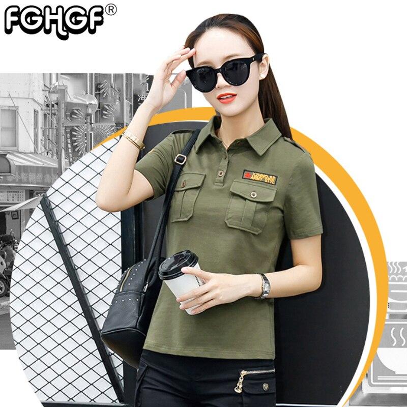 2018 Sommer Armee Grün Polo Shirts Frauen Drehen Unten Kragen Mode Militär Weibliche Schwarz Polo-shirt Damen Casual Tops 1900