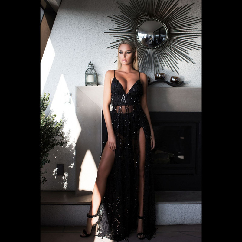 See Orange Elegant Embroidery Women Sequin Maxi Dresses Bodycon Deep V Neck Split Sexy Black Dresses Party Club Vestidos SO3373