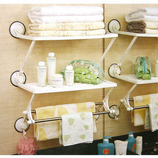 Three generations of shuangqing 1863 double layer pole with suction cup bath kitchen rack bathroom shelf storage