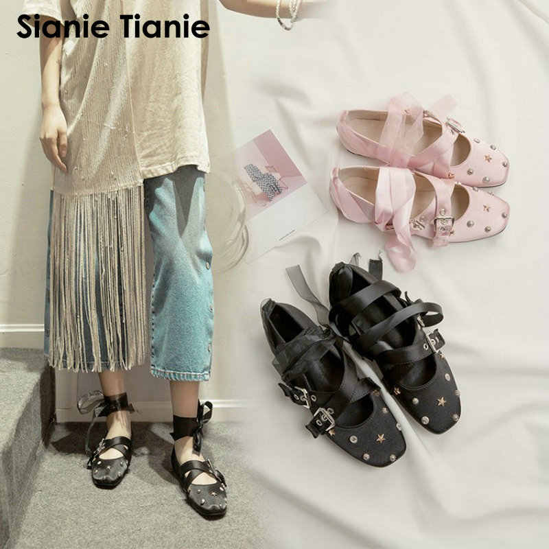 d20d26b27c4d Sianie Tianie 2019 fashion satin woman shoes with rivets decoration ribbon  cross tied ankle strap buckle