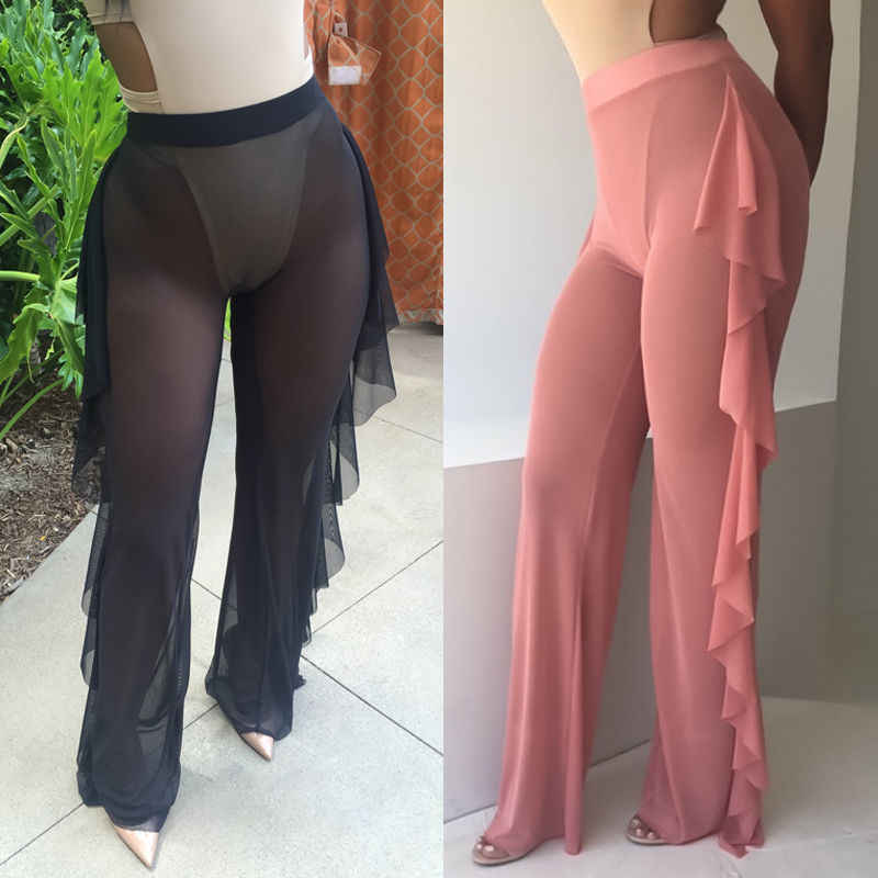 57fdfa5839 ... Fashion Plus Size Palazzo Trousers Pants Women Flared Wide Leg Paints  Street Pleated See Through Sexy ...