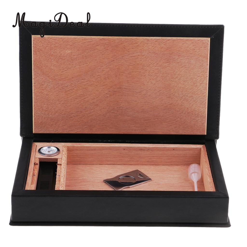 Desktop Cigar Humidor Leather Case Storage Box Wood with Cigar Hygrometer and Humidifier Cutter Knife Set