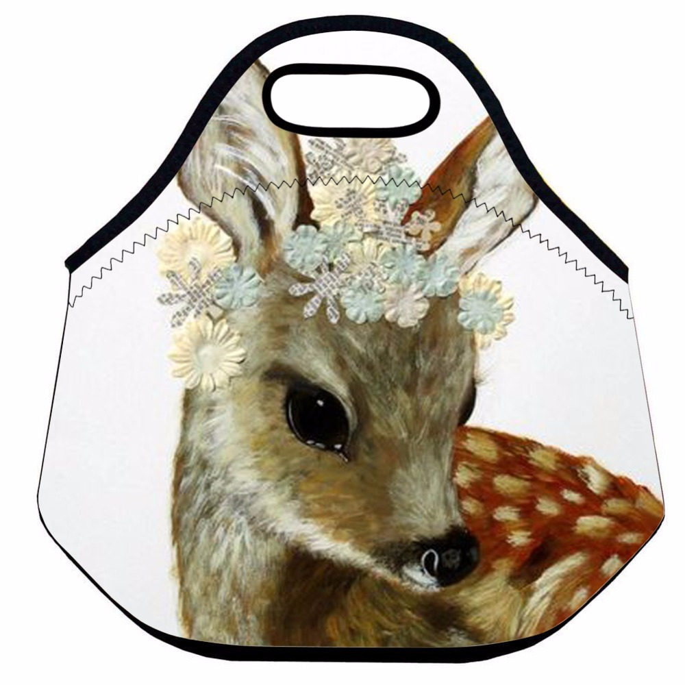Animal Lunch Bag for Kids, Cute Insulated Lunch Bag,Neoprene Thermal Lunch Bag,School Food Bag,Deer Picnic Lunch Tote