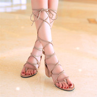 Woman Summer Sandals Cross Strap High Square Heels Open Toed Sweet Casual Lace Up Cross Tied
