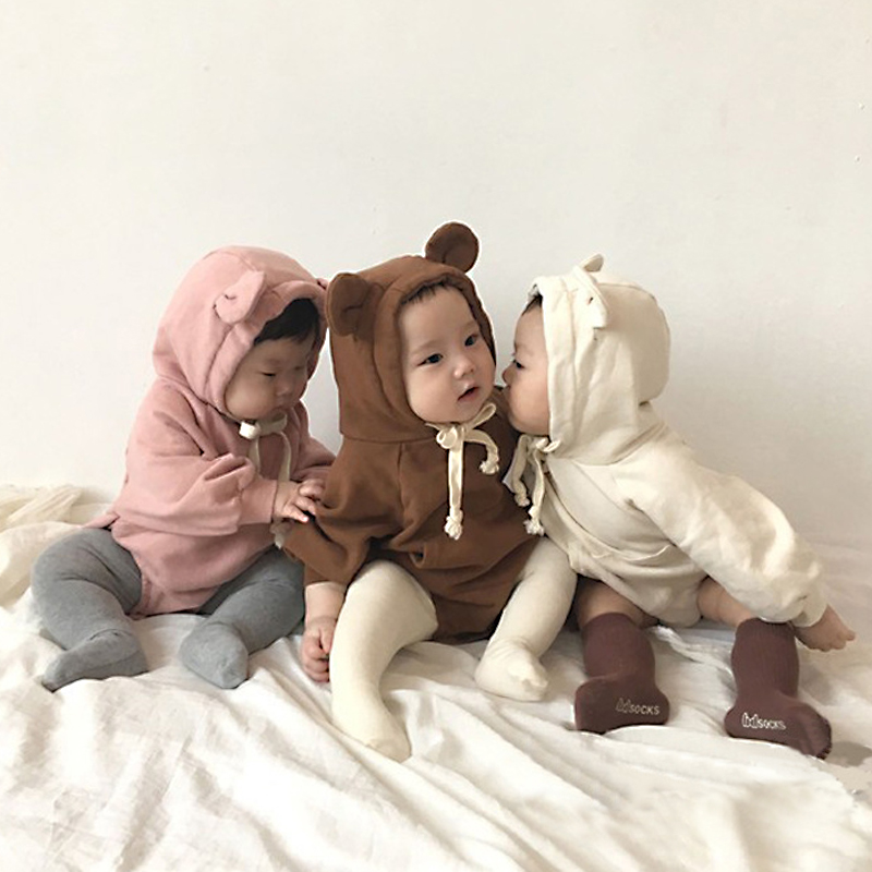 MILANCEL Cute Baby Bodysuits Long Sleeve Little Bear Ears Baby Girl & Boys Bodysuit Velvet Children Hoody Bodysuit Clothes 3Y