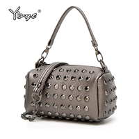 YBYT Brand 2018 New Vintage Casual Women Rivets Boston Bag Ladies Handbags Mini Messenger Package Female