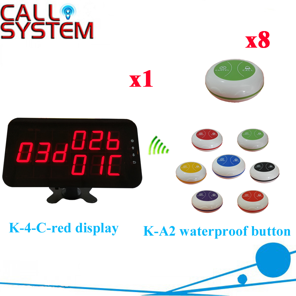 Wireless Buzzer Bell System Strong Signal 433.92MHZ Restaurant Pager By CE Passed( 1 display+8 call button ) wireless calling system hot sell battery waterproof buzzer use table bell restaurant pager 5 display 45 call button