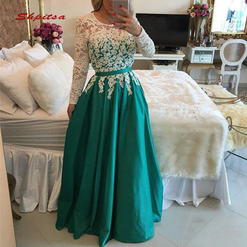 Green Long Sleeve Lace Evening Dresses Party Sexy Beaded Plus Size Ladies Women Formal Dresses Evening Gown