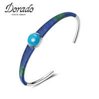 Dorado Unique Design Black Red Blue Wool Weaving Winding Handmade Bangles Trendy Fashion Cuff Bangles Adjustable