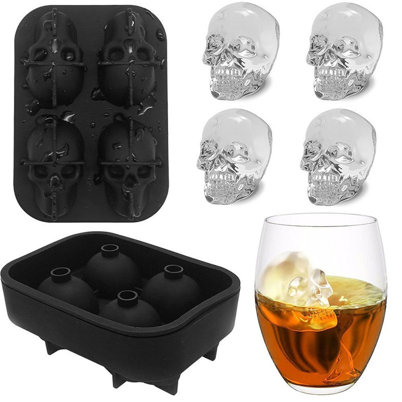 New Ice Cream Tools 3D Skull Head Silicone Ice Lattice Mold Ice Cube Tray Party Bar Skull Popsicle Mold Tools For Sumer Party