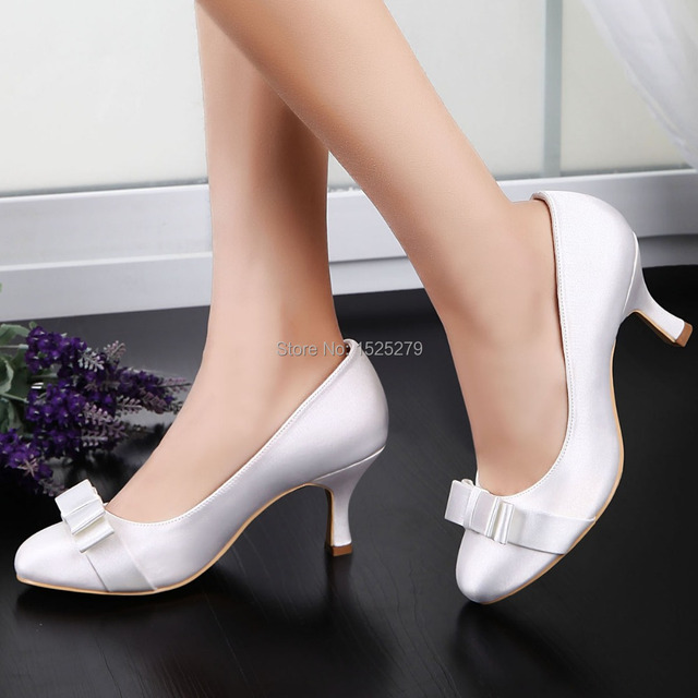 99cae79ac847 EP11019 EU White Bride Women Round Closed Toe Med Heels 2.5   Bridal Prom  Party Pumps Bow Satin Wedding Evening Shoes