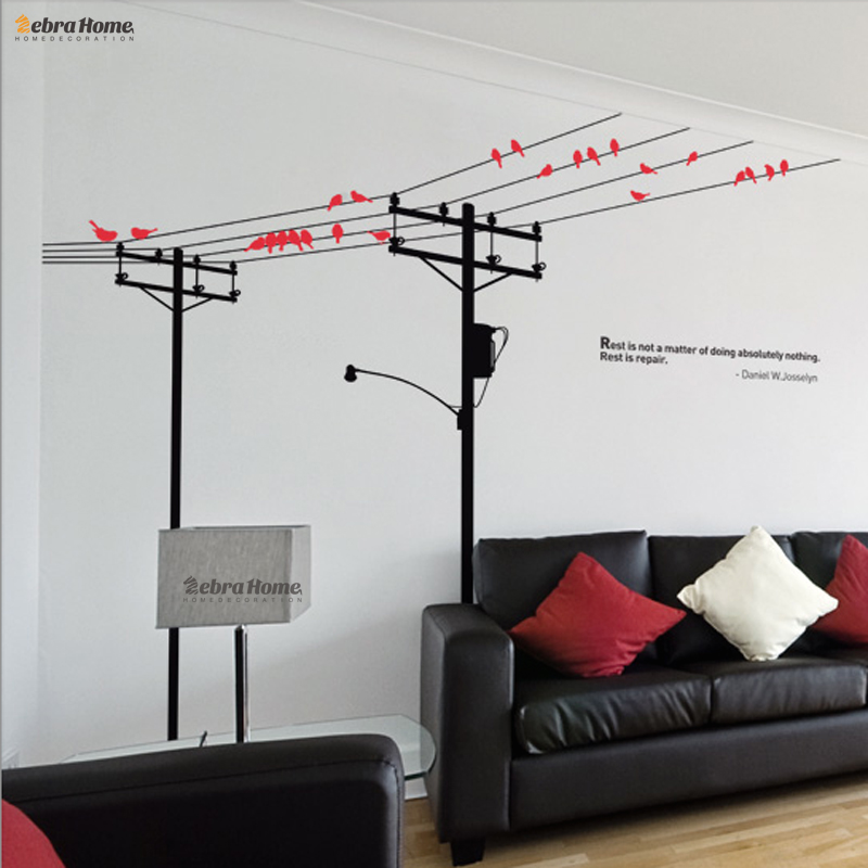 Poles And Birds Simple European Style Wall Sticker Removeable Decorative Decal Mural Wallpaper For Bedroom Home Decoration