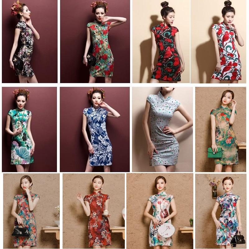 New Summer Silk Satin Short Cheongsam Qipao Chinese Traditional Dresses Female High Neck Unique Party Evening Plue Size 4XL 5XL