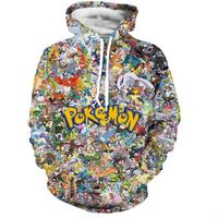 2017 Newest Funny Cartoon Pokemon Hoodies Men Women Hipster 3D Sweatshirt Cute Pikachu Hooded Sweatshirts Fashion