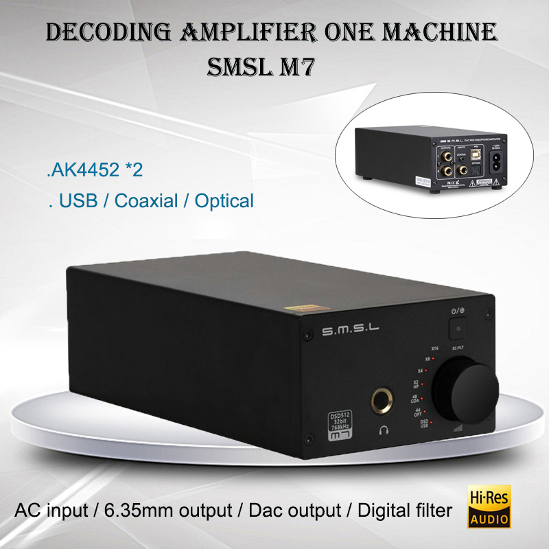 SMSL M7 Audio Headphone Amplifier AK4452 USB DAC Amplificador DSD512 XMOS LM4562 Hifi Power Amp Portable Decoder 32bit 2017 newest smsl icon hifi audio lighting decoder dac amp 48khz portable headphone amplifier