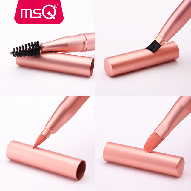 NSMJ pincel de maquillaje de labios simples pinceles de Peine de cejas pincel de doble extremo portátil y retráctil pincel para brillo de labios rosa herramientas cosméticas