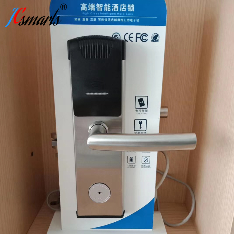 Hotel Electronic Keyless Entrance Digital Door Handle Lock With Card Reader