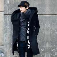 2019 Nuovi uomini di arrivo di inverno di lana e si fondono cappotto degli uomini a doppio Petto a medio-lungo maschio di ispessimento outwear casual cappotto uomo