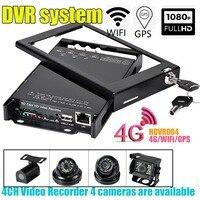 HDVR004 4CH видео регистраторы 4 г Wi Fi gps HD 1080 P Мобильный DVR HD Автобус камера системы автомобиля автобус мониторинга система DVR для такси