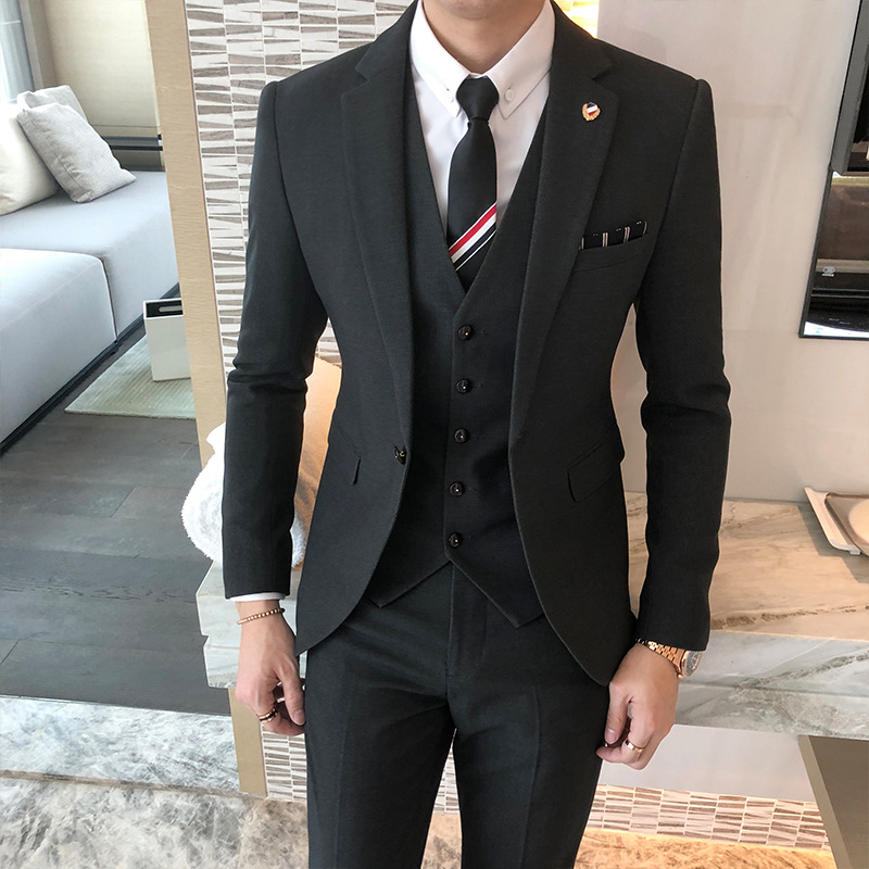 Traje De Boda Hombre Single-breasted Slim Three-piece Sets Male Solid Color British Style Wedding Groom Dress