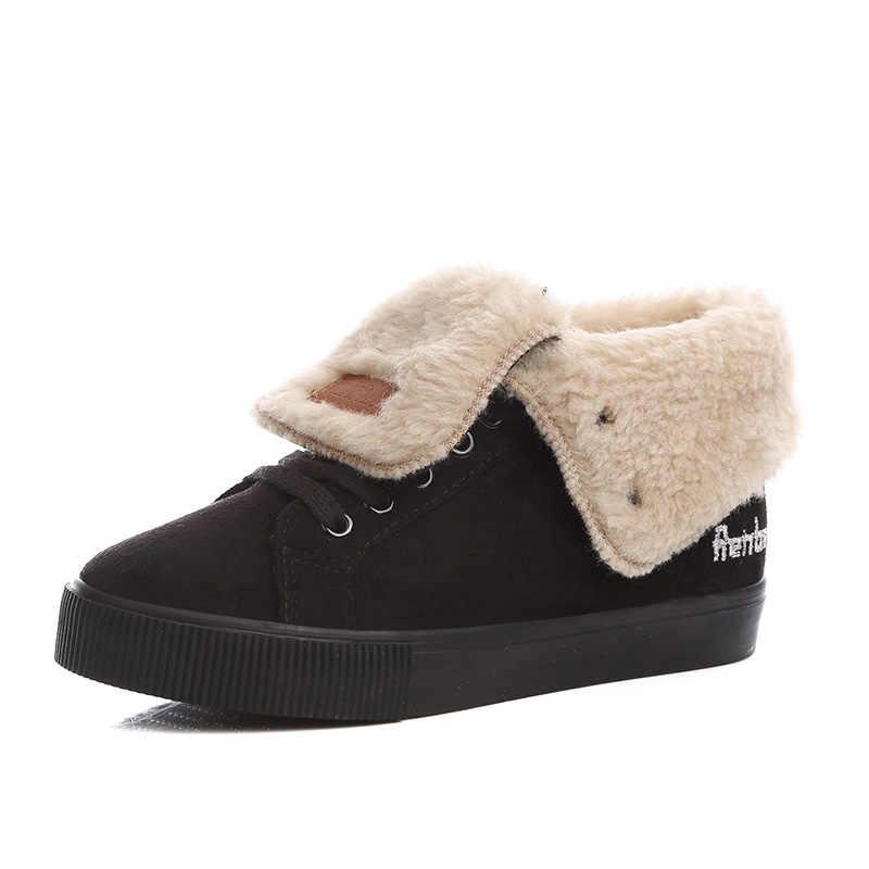 Sıcak Kış Ayakkabı Botları Kadın Botları Kar Botas Lace Up Mujer peluş yarım çizmeler Bayanlar Kış Ayakkabı Siyah