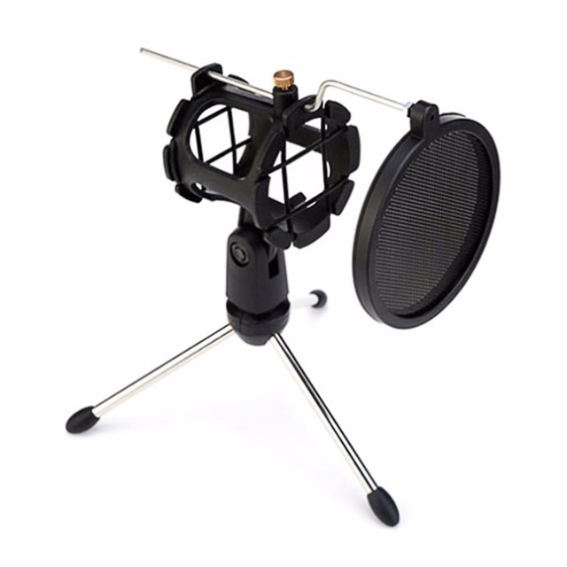 Microphone Tripod Stand Foldable Desktop Microphone Bracket with Shock Mount Mic Holder Clip for Pop Filter