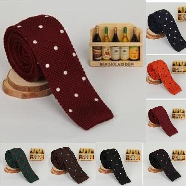 luxury knitting neck ties 5 cm skinny neckties for men brand ties embroider dot man neck ties dress shirt accessories 9 colors
