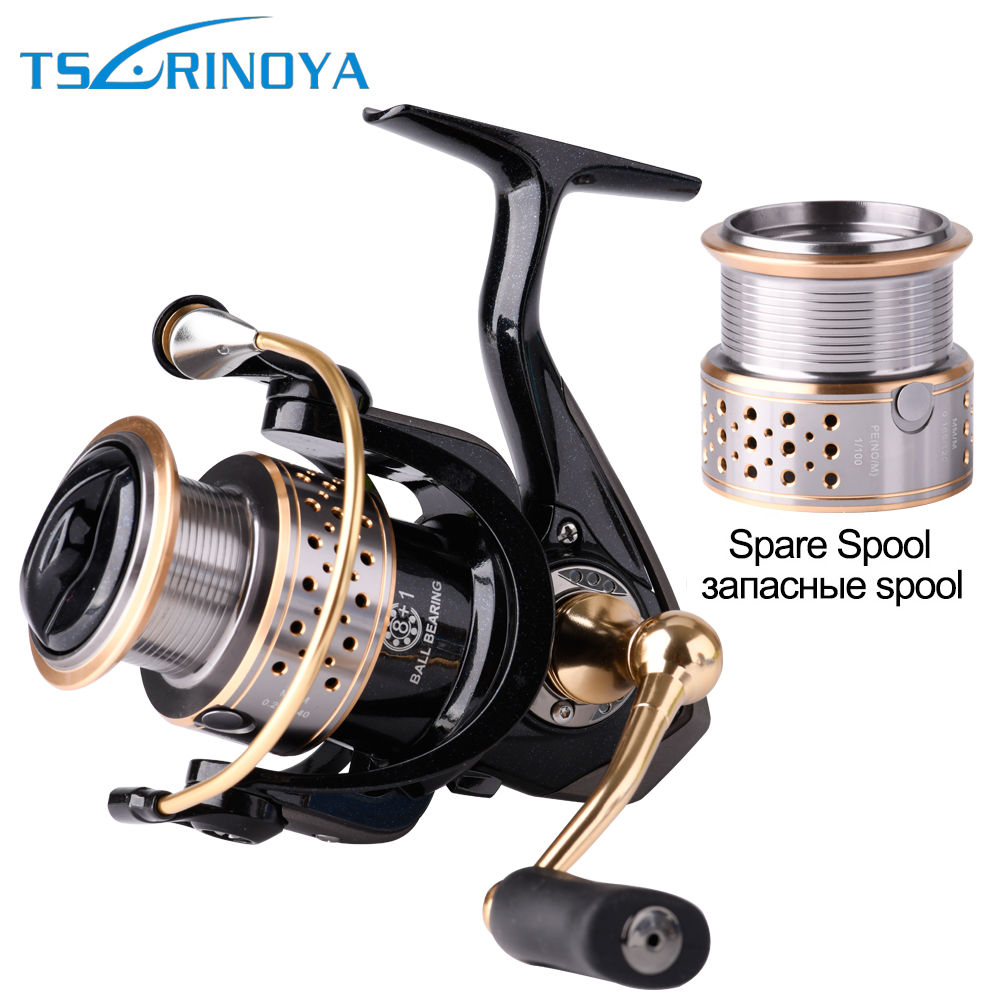 Tsurinoya F2000 Double Metal Szpula Spining Fishing Reel 5.2: 1 8 + 1BB 230g Bass lub karpia Przynęta Fishing Reel Max Drag 6kg