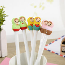 A13 lovely creative Russian doll head cartoon black neutral pen can be customized logo student supplies student stationery(China)