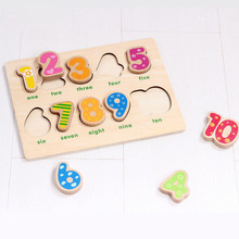 купить Kid Early Educational Toys Baby Hand Grasp Wooden Toy Puzzle Alphabet Digit Learning Education Child Wood Jigsaw Toy дешево