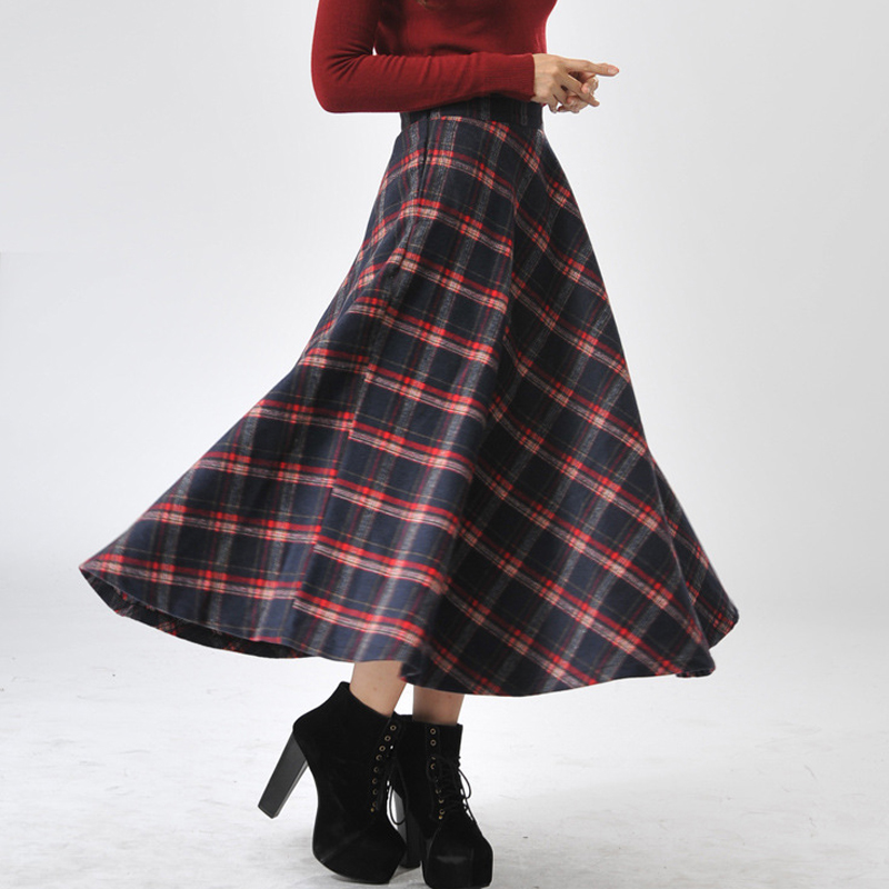 Size Maxi Woolen Skirts Women 2018 Winter Long Ladies Plaid Warm Vintage Pleated