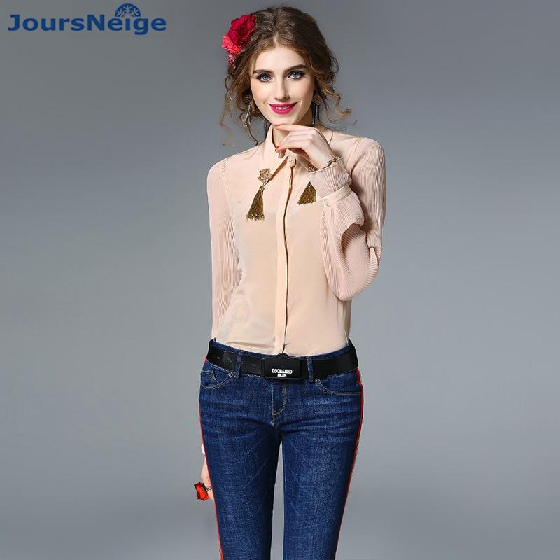 OL chemise femmes 2017 automne nouveau Satin soie Blouse chemise gland perle fleur mince réel soie Satin Blouses femme haut de gamme hauts