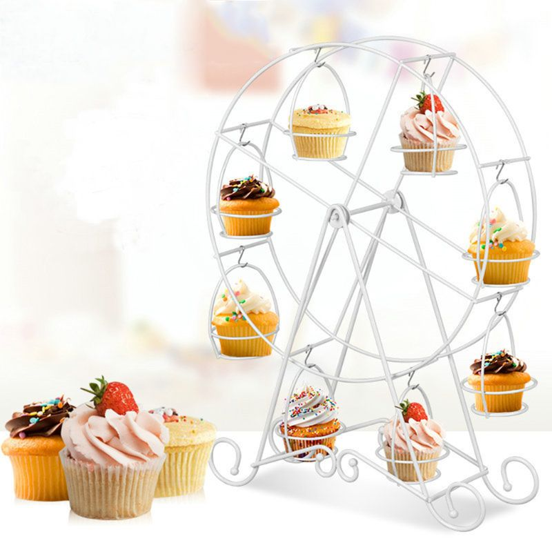 8 Cups Metal Rotating Ferris Wheel Cupcake Dessert Stand Cake Holder Display Birthday Wedding Decoration Party Supplies
