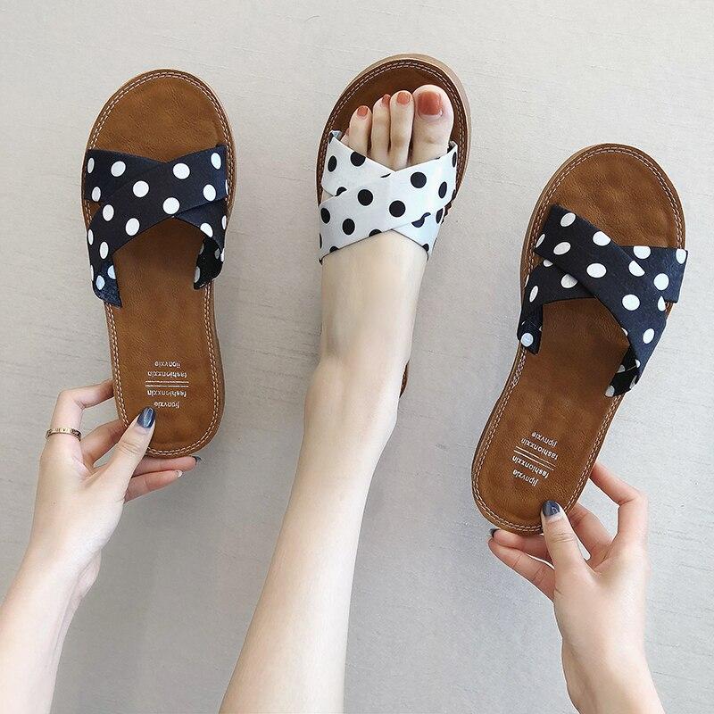 Womens Ladies Polka Dot Slip On Slides Sliders Summer Beach flip flop Sandals