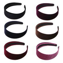 1 шт Женская Мода Бархатная широкая повязка для волос повязка на голову простой черный случайный цвет