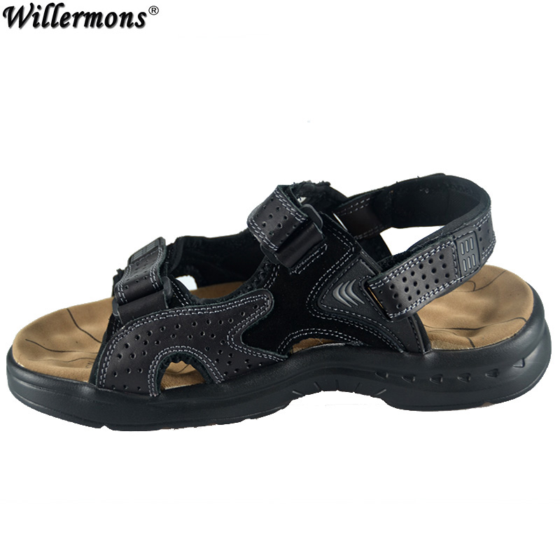 2017 Summer Mens Genuine Cow Leather Fashion Casual Sandals Men Outdoor Water Beach Shoes