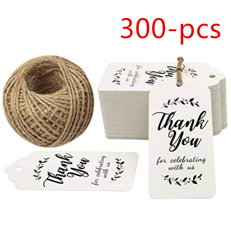 Paper Gift Tags for Baby Shower,Thank You for Celebrating with Us,100 Pcs Kraft Thank You Tags for Wedding Party Favors Gifts with 100 Feet Natural Jute Twine