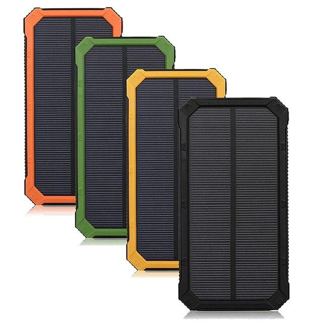Универсальный Портативный Водонепроницаемый 2600 мАч 8000 мАч Солнечное Зарядное Устройство Dual USB Внешняя Батарея Банк Питания Для Зарядки Смартфона