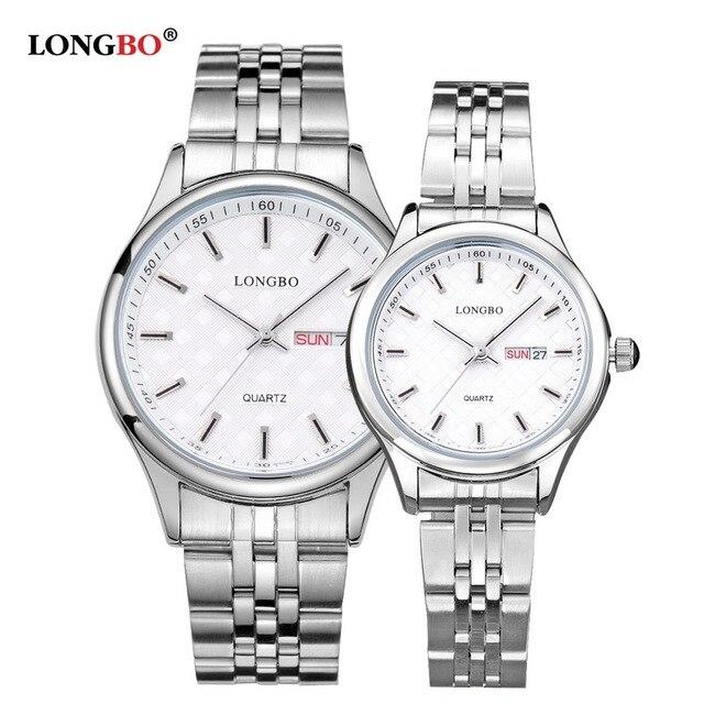 LONGBO Casual Stainless Steel Couple Quartz Watches Reloj Masculino Lovers Wrist